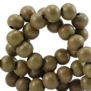 Houten kraal rond 8mm dark olive green