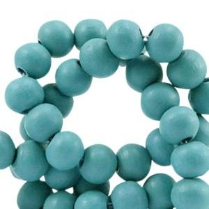 Houten kraal rond 8mm diep groen blauw