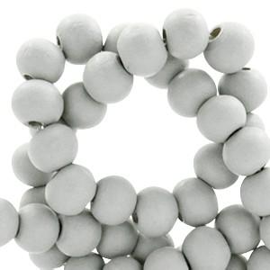 Houten kraal rond 8mm light grey