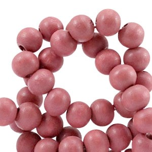 Houten kraal rond 8mm marsala pink