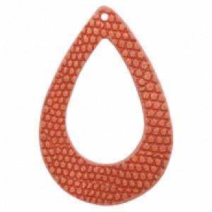 Imitatie leer hangers open druppel crocodile coral red 61x41mm (per stuk)