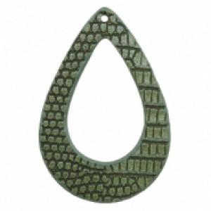 Imitatie leer hangers open druppel crocodile green 61x41mm (per stuk)