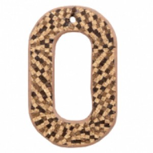 Imitatie leer hangers open ovaal cork brown 44x28mm (per stuk)