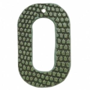 Imitatie leer hangers open ovaal crocodile green 44x28mm (per stuk)
