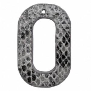 Imitatie leer hangers open ovaal snake grey 44x28mm (per stuk)