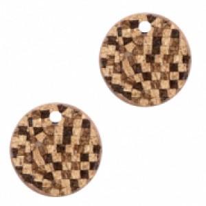 Imitatie leer hangers rond cork brown 16mm (per stuk)