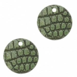 Imitatie leer hangers rond crocodile green 16mm (per stuk)