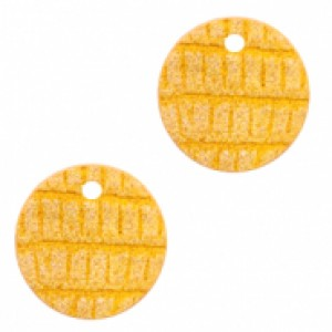 Imitatie leer hangers rond crocodile warm yellow 16mm (per stuk)