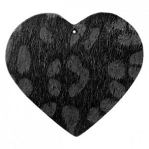 Imitatie vacht leer hanger hart 5x5cm leopard print black anthracite