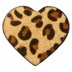 Imitatie vacht leer hanger hart 5x5cm leopard print camel brown