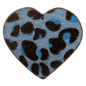 Imitatie vacht leer hanger hart 5x5cm leopard print dark blue