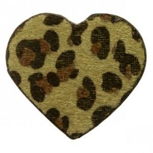 Imitatie vacht leer hanger hart 5x5cm leopard print dark olive green