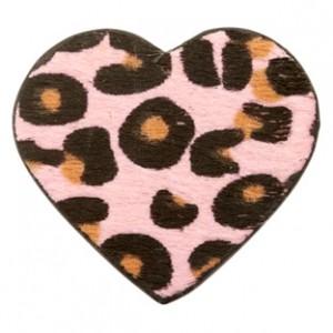 Imitatie vacht leer hanger hart 5x5cm leopard print pink