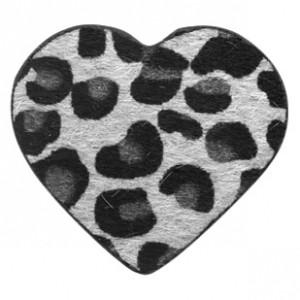 Imitatie vacht leer hanger hart 5x5cm leopard print silver grey