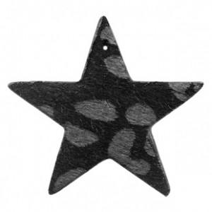 Imitatie vacht leer hanger ster 5x5cm leopard print black anthracite