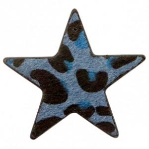 Imitatie vacht leer hanger ster 5x5cm leopard print dark blue