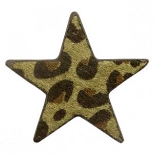 Imitatie vacht leer hanger ster 5x5cm leopard print dark olive green