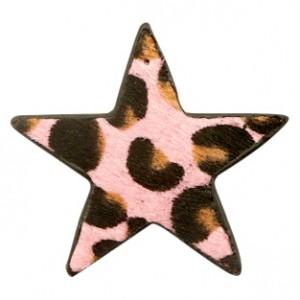 Imitatie vacht leer hanger ster 5x5cm leopard print pink