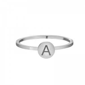 Initial ring A - Z maat 16 zilver