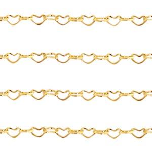 Jasseron hartjes schakel goud stainless steel ca. 4x3mm
