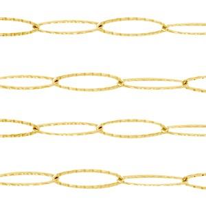Jasseron lange ovale schakels goud stainless steel ca. 20x6mm
