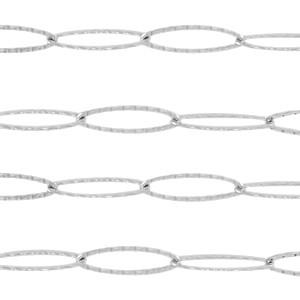 Jasseron lange ovale schakels zilver stainless steel ca. 20x6mm