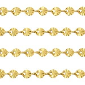 Jasseron ronde schakels goud stainless steel ca. 4mm