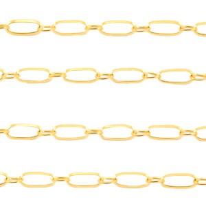 Jasseron stainless steel schakel 10x4mm goud per 20cm