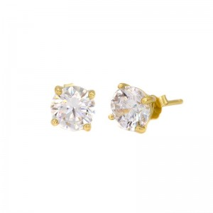 Karma zirconia earstuds 3-4-5-6-7MM 925 sterling zilver goldplated (per paar)