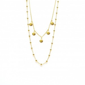 Karma dubbele ketting dots 5 discus 925 sterling zilver goldplated