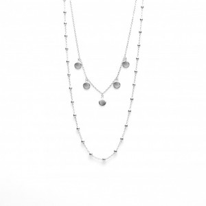 Karma dubbele ketting dots 5 discus 925 sterling zilver