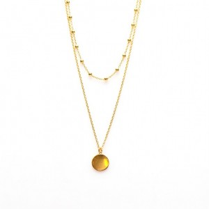 Karma dubbele ketting dots disc 925 sterling zilver goldplated
