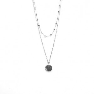 Karma dubbele ketting dots disc 925 sterling zilver