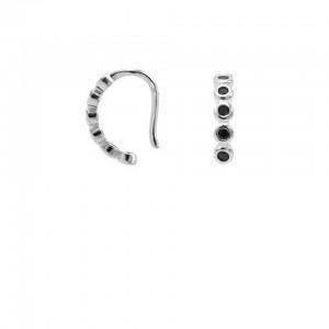 Karma earcuff black zirconia 925 Sterling Silver (1piece)
