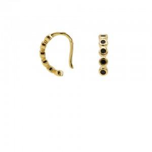 Karma earcuff black zirconia 925 Sterling Silver goldplated (1piece)
