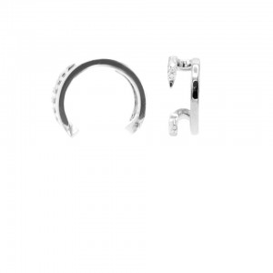 Karma earcuff open double zirconia 925 Sterling Silver (1piece)