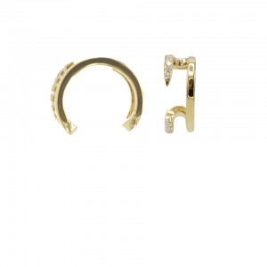 Karma earcuff open double zirconia 925 Sterling Silver goldplated (1piece)