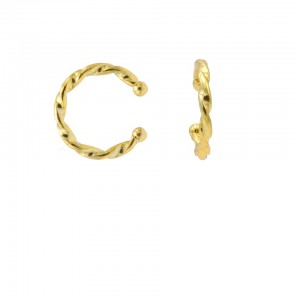 Karma earcuff plain twister loose 925 sterling silver goudkleurig (1 piece)