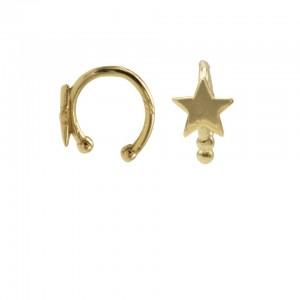 Karma earcuff star 925 Sterling Silver goldplated (1piece)