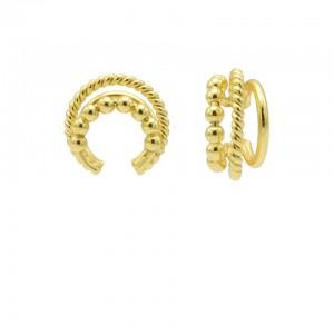 Karma earcuff triple dots twister plain 925 sterling silver goudkleurig (1 piece)