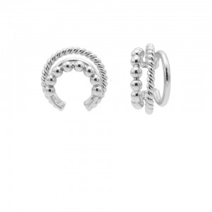 Karma earcuff triple dots twister plain 925 sterling zilver (1 piece)