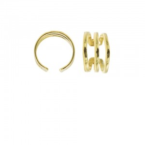 Karma earcuff triple plain 925 sterling silver goudkleurig (1 piece)