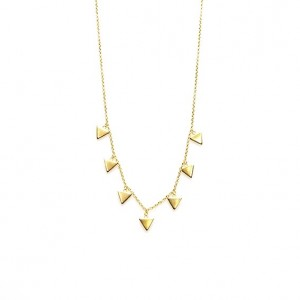 Karma ketting 7 triangles 925 sterling zilver goldplated 38-45cm
