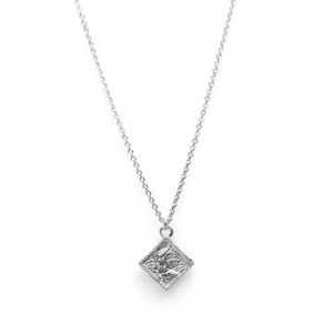 Karma ketting coin square 925 sterling zilver 38-45cm