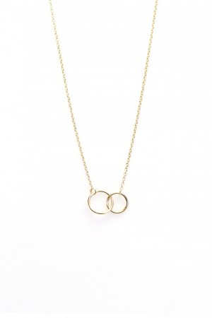 Karma ketting double circle 925 sterling zilver goldplated 50-57cm