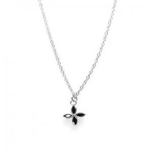 Karma ketting flower zirconia black 925 sterling zilver 38-45cm