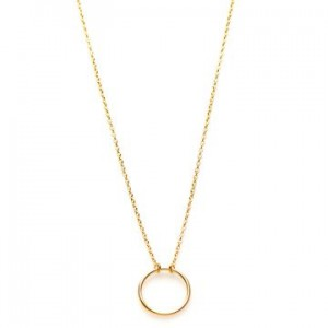 Karma ketting open circle 925 sterling zilver goldplated 38-45cm