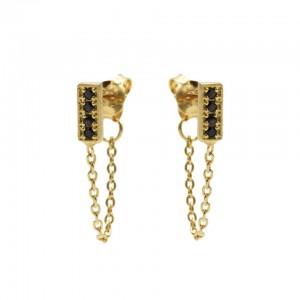 Karma oorbellen chain black zirconia rectangle goud