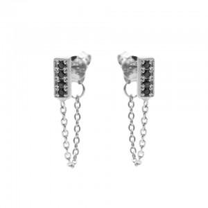 Karma oorbellen chain black zirconia rectangle zilver
