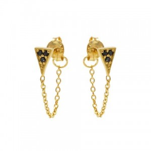 Karma oorbellen chain black zirconia triangle goud